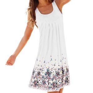 Loose Floral Mini Print Sundress ALine Beach Dress